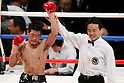 Hozumi Hasegawa (JPN), APRIL 6, 2012 - Boxing : Hozumi Hasegawa of Japan celebrates after wining during the feather weight 10 round bout at Tokyo international forum in Tokyo, Japan. Hozumi Hasegawa won by TKO after 7th rounds. (Photo by Yusuke Nakanishi/AFLO) [1090]