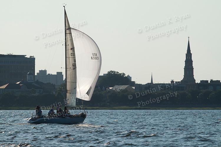 Sailboats sailing near downtown charleston south carolina
