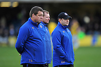 Bath Rugby first team coach Toby Booth looks on during the pre-match warm-up. Aviva Premiership match, between Bath Rugby and Northampton Saints on December 5, 2015 at the Recreation Ground in Bath, England. Photo by: Patrick Khachfe / Onside Images