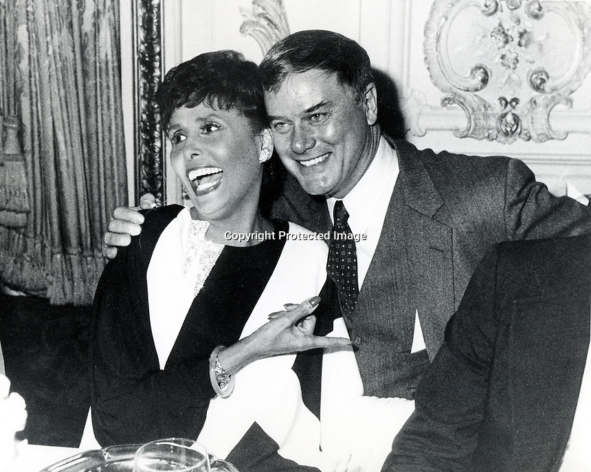 Actor Larry Hagman with singer Lena Horne.<br />