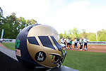 25 April 2016: Notre Dame batting helmet. The University of North Carolina Tar Heels hosted the University of Notre Dame Fighting Irish at Anderson Stadium in Chapel Hill, North Carolina in a 2016 NCAA Division I softball game. UNC won the game 7-6.