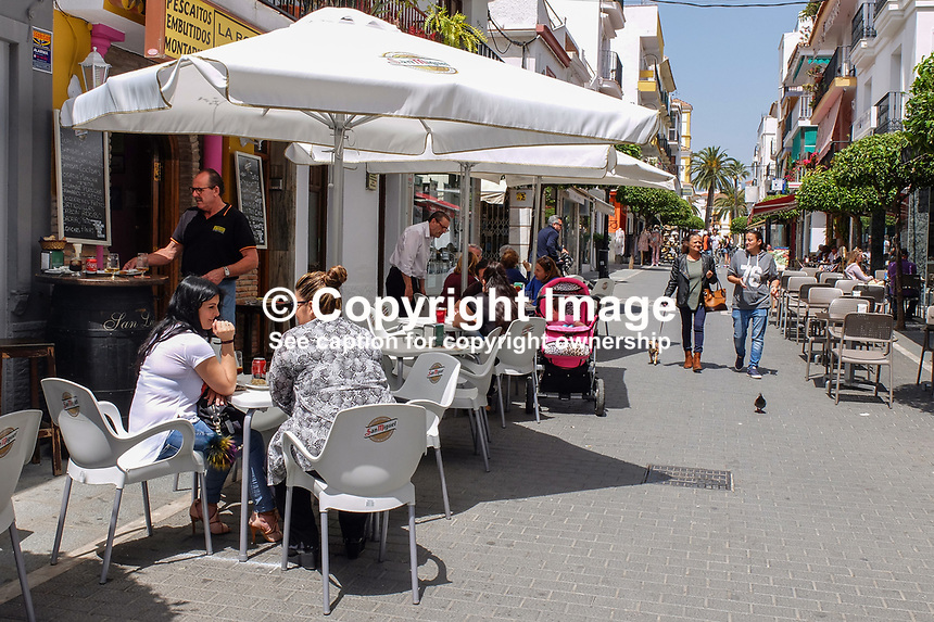 Pedestrianized street, cafes, bars, San Pedro de Alcantara, Spain, April, 2017, 201704233509<br />