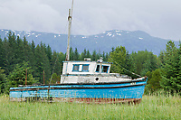 Old fishing boats in Gustavus, Alaska
