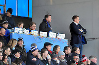 Performance Analysts Matthew Watkins and Kate Burke, first team coach Neal Hatley, head coach Mike Ford and Stuart Hooper watch play. Aviva Premiership match, between Saracens and Bath Rugby on January 30, 2016 at Allianz Park in London, England. Photo by: Patrick Khachfe / Onside Images