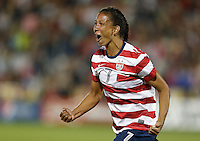 Commerce City, Colorado - Wednesday September 19, 2012; The US WNT defeated the National team of Australia 6-2 during an International friendly game at Dick's Sporting Goods Park.  Shannon Boxx (7) celebrates after scoring a goal on a header against Australia.