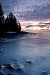 Pre sunrise as Cascade River flows into Lake Superior at Cascade River State Park, Minnesota.