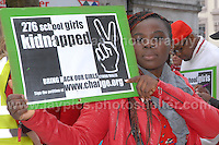 Rally supporter Gift Omoyibo Ese makes her statement.<br /> <br /> Cardiff, South Wales. Sunday May 11th 2014. Nigerians in Cardiff in organised rally in support of the 276 abducted school children in Chibok, Nigeria by Boko Haram terrorists. <br /> <br /> Photo by Jeff Thomas/Jeff Thomas Photography