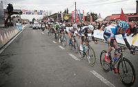 Johan Vansummeren (BEL), tailed by Tom Boonen (BEL),  leads the front group into the last local lap<br /> <br /> Kuurne-Brussel-Kuurne 2014