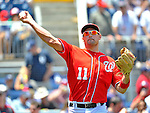 16 June 2012: Washington Nationals third baseman Ryan Zimmerman warms up prior to a game against the New York Yankees at Nationals Park in Washington, DC. The Yankees defeated the Nationals in 14 innings by a score of 5-3, taking the second game of their 3-game series. Mandatory Credit: Ed Wolfstein Photo