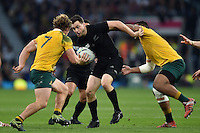 Ben Smith of New Zealand takes on the Australia defence. Rugby World Cup Final between New Zealand and Australia on October 31, 2015 at Twickenham Stadium in London, England. Photo by: Patrick Khachfe / Onside Images