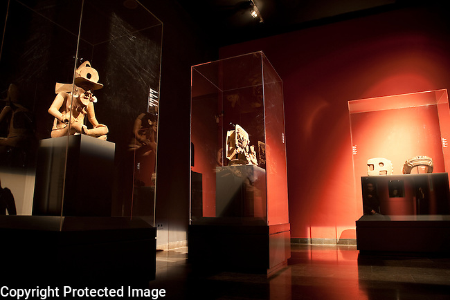 Interior of Barbier-Mueller Art Precolombi Museum in Barcelona, Catalonia, Spain