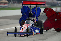 Sept. 1, 2012; Claremont, IN, USA: NHRA top fuel dragster driver Ike Maier during qualifying for the US Nationals at Lucas Oil Raceway. Mandatory Credit: Mark J. Rebilas-