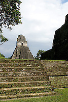 Temple I or Temple of the Grand Jaguar, Maya ruins of Tikal, El Peten, Guatemala. Tikal is a UNESCO World Heritage Site....