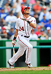 8 September 2011: Washington Nationals outfielder Rick Ankiel hits a double in the 3rd inning against the Los Angeles Dodgers at Nationals Park in Washington, DC. The Dodgers defeated the Nationals 7-4 to take the third game of their 4-game series. Mandatory Credit: Ed Wolfstein Photo