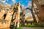 Main Altar of Fountains Abbey , founded in 1132, is one of the largest and best preserved ruined Cistercian monasteries in England. The ruined monastery is a focal point of England's most important 18th century Water, the Studley Royal Water Garden which is a UNESCO World Heritage Site. Near Ripon, North Yorkshire, England