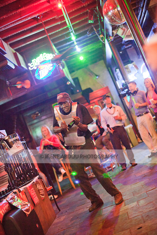 The Danny T Band plays a mean zydeco at a bar on New Orleans, Louisiana's famed Bourbon Street.  The washboard - a low-tech percussion instrument made from a sheet of metal - figures prominently in Zydeco.