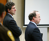 Defense attorneys Jonathan Shapiro, left, and Peter Greenspun address the court during the trial of sniper suspect John Allen Muhammad in the Virginia Beach Circuit Court in Virginia Beach, Virginia on November 12, 2003.  The defense rested its case after presenting five witnesses who testified for two hours. <br /> <br /> Credit: Lawrence Jackson - Pool via CNP