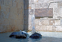 Richard Meier: The Getty Center Courtyard Grotto. Enclosed by u-shaped East Pavilion.  Photo '99.