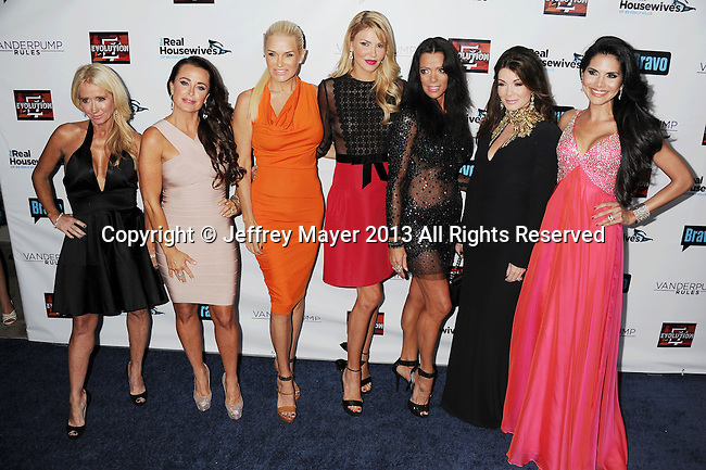 HOLLYWOOD, CA- OCTOBER 23: (L-R) TV personalities Kim Richards, Kyle Richards, Yolanda H. Foster, Brandi Glanville, Carlton Gebbia, Lisa Vanderpump and Joyce Giraud de Ohoven arrive at 'The Real Housewives Of Beverly Hills' And 'Vanderpump Rules' premiere party at Boulevard3 on October 23, 2013 in Hollywood, California.