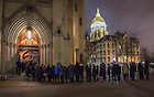 Mar. 3, 2015; Students wait in line outside of the Basilica of the Sacred Heart to pay respects  at the visitation for  President Emeritus Rev. Theodore M. Hesburgh. (Photo by Barbara Johnston/University of Notre Dame)