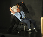 Marty Dunbar (left) and Christopher Schager rehearse the play Clandestine as part of the Ten Minute Plays in Oxford, Miss.  on Tuesday, September 20, 2011.