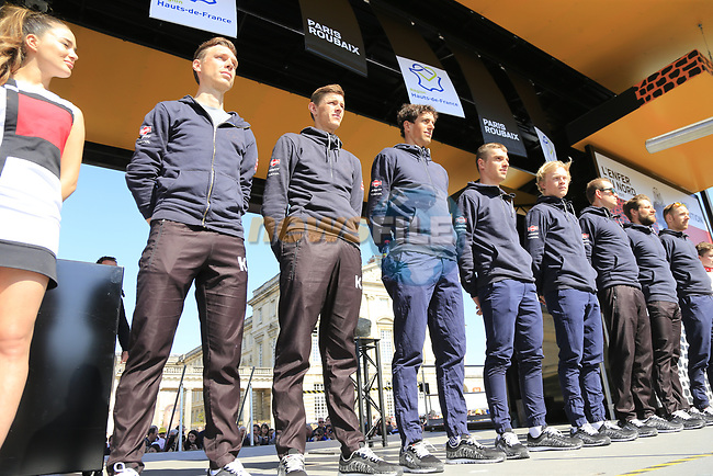 Team Katusha Alpecin at the Team Presentation for the upcoming 115th edition of the Paris-Roubaix 2017 race held in Compiegne, France. 8th April 2017.<br /> Picture: Eoin Clarke | Cyclefile<br /> <br /> <br /> All photos usage must carry mandatory copyright credit (&copy; Cyclefile | Eoin Clarke)