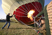 The balloon's nylon envelope being inflated with hot air from the propane burners, British School of ballooning, Ebernoe, West Sussex.