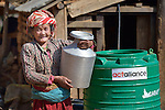 Pamfa Maya Pulami holds a water pot as she fetches water from a cistern in Salang, a village in the Dhading District of Nepal where Dan Church Aid, a member of the ACT Alliance, has provided a variety of support to local villagers in the wake of a devastating 2015 earthquake. The village's water system was destroyed by the quake, forcing women to walk two hours or more to a nearby river to fetch water. Working with a local organization, the Forum for Awareness and Youth Activity, the ACT Alliance rebuilt the village's water system.