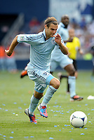 Kansas City midfielder Graham Zusi (8) in action... Sporting Kansas City defetaed San Jose Earthquakes 2-1 at LIVESTRONG Sporting Park, Kansas City, Kansas.