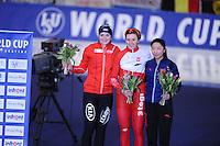 SPEEDSKATING: BERLIN: Sportforum Berlin, 29-01-2017, ISU World Cup, Podium 3000m Ladies B Division, Ida Njåtun (NOR), Natalia Czerwonka (POL), Mei Han (CHN), ©photo Martin de Jong