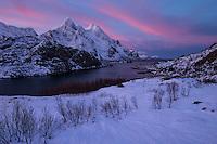 Winter sunrise over Himmeltindan and Steinsfjord, Vestvågøy, Lofoten Islands, Norway