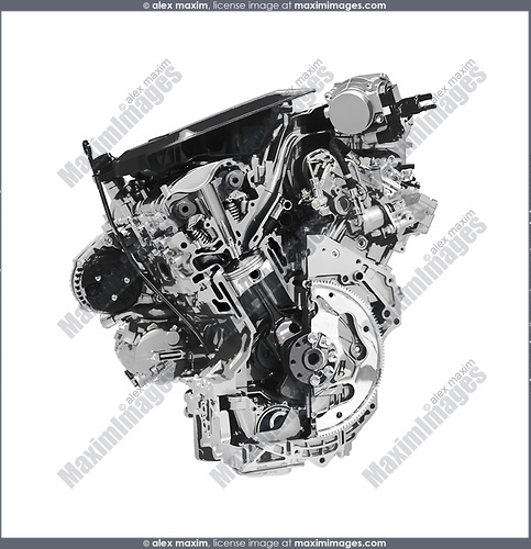 Stylized photo illustration pf a Cross section of 2017 Buick Lacrosse 3.6L V6 VVT DI 310HP car engine showing the cylinder, piston and valves isolated with clipping path on white background
