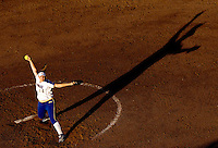 Keira Goerl of the UCLA Bruins pitches during the final game of the 2004 Women's College World Series in Oklahoma City, Oklahoma.