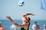 GULF SHORES, AL - MAY 07: Brittany Howard (15) of  Pepperdine University serves the ball during the Division I Women's Beach Volleyball Championship held at Gulf Place on May 7, 2017 in Gulf Shores, Alabama.Pepperdine defeated Hawaii 3-0 to advance to the championship game.  (Photo by Stephen Nowland/NCAA Photos via Getty Images)