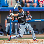 7 March 2016: Miami Marlins infielder Tommy Medica in action during a Spring Training pre-season game against the Washington Nationals at Space Coast Stadium in Viera, Florida. The Nationals defeated the Marlins 7-4 in Grapefruit League play. Mandatory Credit: Ed Wolfstein Photo *** RAW (NEF) Image File Available ***