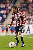 Jorge Villafaña (19) of CD Chivas USA. The New York Red Bulls and CD Chivas USA played to a 1-1 tie during a Major League Soccer (MLS) match at Red Bull Arena in Harrison, NJ, on May 23, 2012.