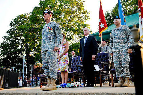 United States Army General Stanley A. McChrystal stands at attention during his retirement ceremony at Ft. McNair in Washington DC, Friday, July 23, 2010.  McChrystal  retired from the U.S. Army after 34 years of service to his nation during both peace and war time. .Mandatory Credit: D. Myles Cullen - U.S. Army via CNP