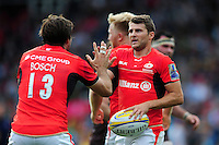 Richard Wigglesworth of Saracens celebrates his try with team-mate Marcelo Bosch. Aviva Premiership match, between Harlequins and Saracens on September 24, 2016 at the Twickenham Stoop in London, England. Photo by: Patrick Khachfe / JMP