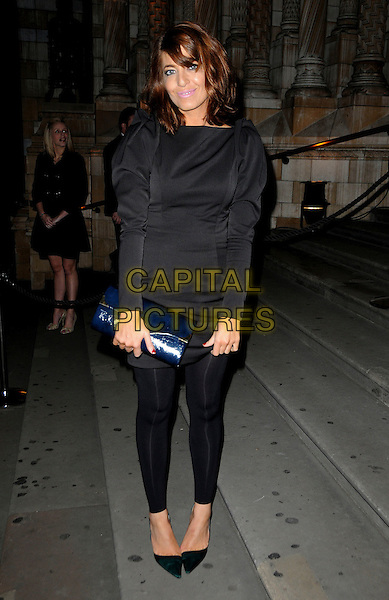 CLAUDIA WINKLEMAN .Attending The 30 Days of Fashion And Beauty Gala Party, at the Natural History Museum, London, England. .September 21st, 2009 .full length black puff shoulder sleeve top leggings shoes pointy blue clutch bag green dress .CAP/CAS.©Bob Cass/Capital Pictures