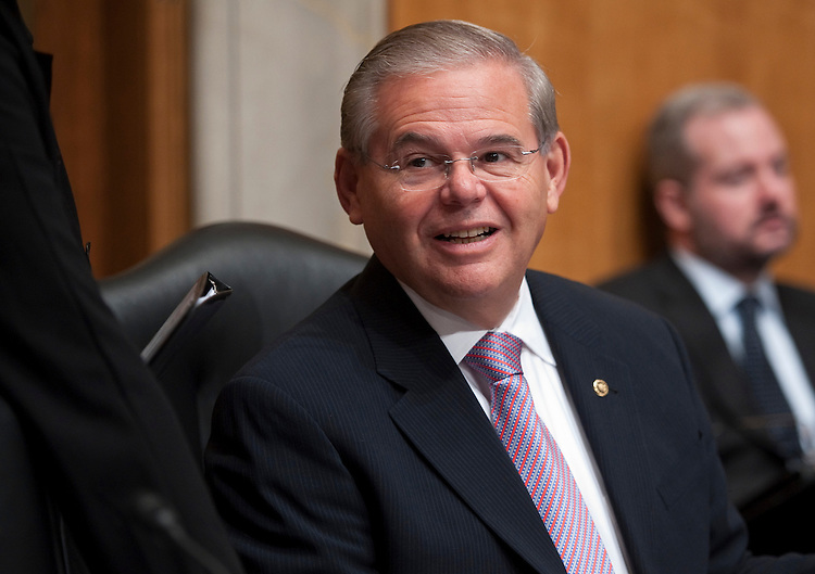 UNITED STATES - SEPTEMBER 17: Sen. Bob Menendez, D-N.J., arrives to chair a Senate Foreign Relations Committee hearing on nominations for officials in the United States Agency for International Development and the Organization for the Prohibition of Chemical Weapons on Wednesday, Sept. 22, 2010. (Photo By Bill Clark/Roll Call via Getty Images)
