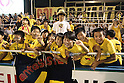 Giravanz Kitakyushu fans,.AUGUST 26, 2012 - Football / Soccer :.Giravanz Kitakyushu kids fans celebrate after the 2012 J.League Division 2 match between Tokyo Verdy 0-2 Giravanz Kitakyushu at Ajinomoto Field Nishigaoka in Tokyo, Japan. (Photo by Hiroyuki Sato/AFLO)
