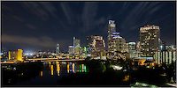 The Austin skyline at night is a beautiful sight. This long exposure is actually several images merged together to make a panorama of Lady Bird Lake surrounded by the architecture and lights of the Austin buildings.