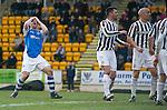 St Johnstone v St Mirren.....23.02.13      SPL.Frazer Wright holds his head as his header re-bounds off the bar.Picture by Graeme Hart..Copyright Perthshire Picture Agency.Tel: 01738 623350  Mobile: 07990 594431