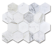 7cm Hex, shown in Statuary Carrara (available in honed or polished finish)is part of New Ravenna's Studio Line. All mosaics in this collection are ready to ship within 48 hours.<br />