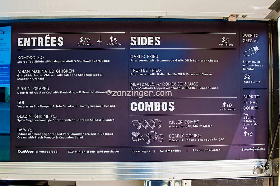 Komodo Menu, Gourmet Food Truck, Mid Wilshire, Los Angeles CA. Miracle Mile district.