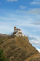 First and oldest fortress of Tibet, Yumbulagang  above the Yarlung valley, Central Tibet, Tibet, China. The &quot;Birth Place of Tibet&quot;<br />