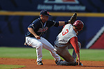 Alabama's Ross Wilson (3) is caught stealing vs. Mississippi's Alex Yarbrough during the Southeastern Conference tournament at Regions Park in Hoover, Ala. on Thursday, May 27, 2010.