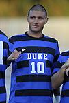 14 September 2012: Duke's Luis Rendon. The Duke University Blue Devils defeated the Clemson University Tigers 2-0 at Koskinen Stadium in Durham, North Carolina in a 2012 NCAA Division I Men's Soccer game.