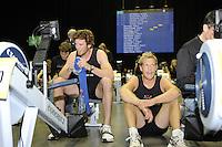 Birmingham, Great Britain, Men's Student Hwt,  left Gold medallist Deaglan McEACHERN, CUBC and Silver medallist, Pete MARSLAND, CUBC,  competing at the 2008 British Indoor Rowing Championships, National Indoor Arena. on  Sunday 26.10.2008 . [Photo, Peter Spurrier/Intersport-images] ..