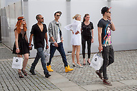 Young fashionistas during Berlin Fashion Week..